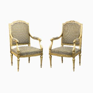 Antique Louis XVI Style Giltwood Armchairs, 1880s, Set of 2