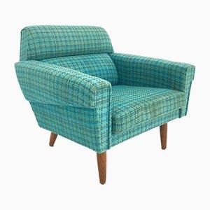 Mid-Century Danish Turquoise Blue Wool Armchair, 1960s