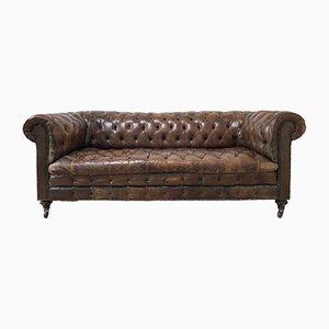 Antikes Chesterfield Sofa aus braunem Leder