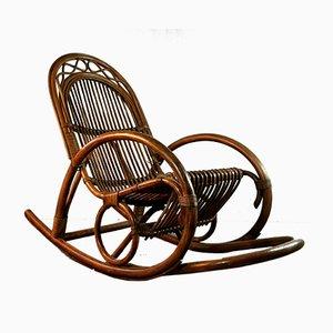 Rocking-chair Vintage en Bambou et Bois, Allemagne, années 50