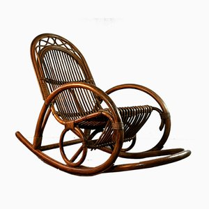 Vintage German Bamboo and Wood Rocking Chair, 1950s