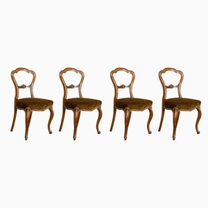 Antique Victorian English Walnut Side Chairs, 1840s, Set of 4