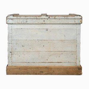 Antique Victorian English Pinewood and Zinc Travel Trunk