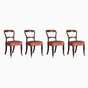 Antike viktorianisch-englische Esszimmerstühle aus Nussholz, 5er Set
