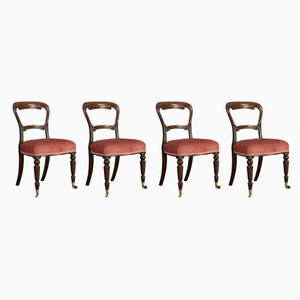Antique Victorian English Walnut Dining Chairs, Set of 5