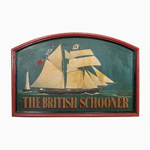 Large Vintage English Pinewood Ship Pub Sign, 1950s