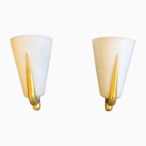 Mid-Century Brass and Glass Sconces, 1950s, Set of 2