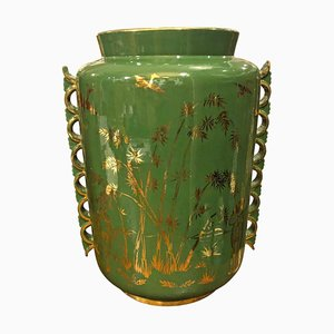Italienische Mid-Century Keramikvase in Grün & Gold, 1960er