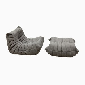 Vintage Togo Lounge Chair and Ottoman by Michel Ducaroy for Ligne Roset, Set of 2