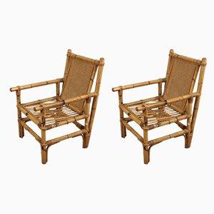 Italian Bamboo Armchairs, 1970s, Set of 2