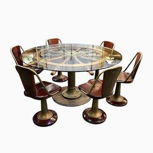Tavolo da pranzo in mogano e ottone e sedie, anni '50
