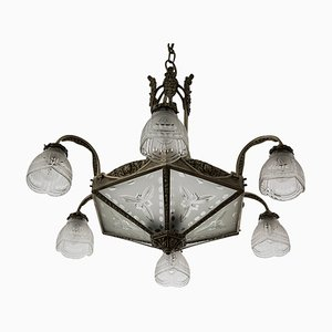 French Art Deco Ceiling Lamp, 1930s