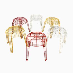 Vintage Dutch Wire Stools, 1980s, Set of 6
