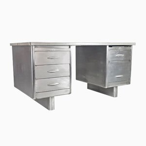 Vintage Industrial Polished Steel Double Pedestal Desk, 1950s