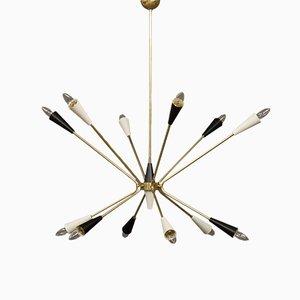 Italienische Messing Sputnik Deckenlampe, 1960er
