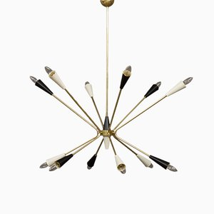 Italienische Sputnik Deckenlampe aus Messing, 1960er