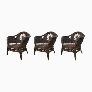 Sessel aus Korbgeflecht, 1960er, 3er Set