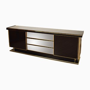 Italian Black Lacquered and Brass Sideboard, 1980s