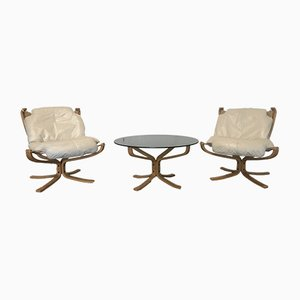 Falcon Lounge Chairs and Coffee Table by Sigurd Ressell for Vatne Møbler, 1960s, Set of 3