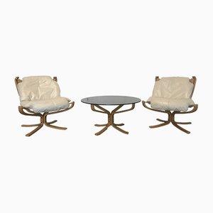 Fauteuils Falcon et Table Basse par Sigurd Ressell pour Vatne Møbler, 1960s, Set de 3