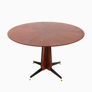 Mesa de comedor italiana de madera y metal, años 50