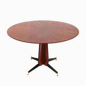Tavolo da pranzo in legno e metallo, Italia, anni '50
