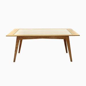 Mesa de comedor italiana de madera y vidrio, años 50