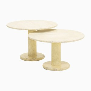 Italian Travertine Coffee Tables, 1970s, Set of 2