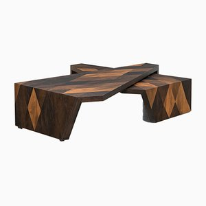 Smoked Oak Side Tables by Johannes Hock for Atelier Johannes Hock, Set of 2