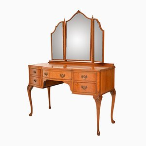Antique Queen Anne Style Burr Walnut Dressing Table, 1930s