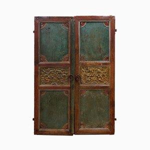 Puertas antiguas indias talladas a mano talladas a mano, década de 1900. Juego de 2