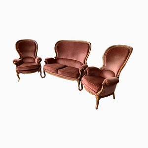 Napoleon III Armchairs and Sofa Set, 1950s