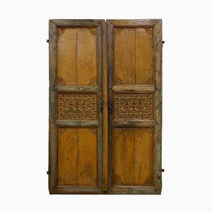Portes Anciennes Sculptées et Peintes à la Main, Inde, années 1900, Set de 2