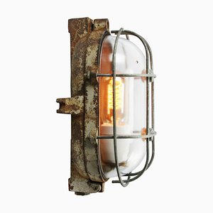 Mid-Century Industrial Cast Iron and Clear Glass Sconce