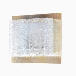 Wandleuchte aus Glas & Messing, 1960er