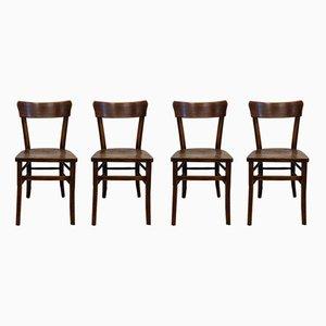 Chaises de Bistrot Rustiques Antiques, 1910, Set de 4