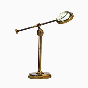 Antique Brass Magnifying Glass on Stand, 1890s