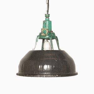 Schwarz emaillierte Deckenlampe, 1930er