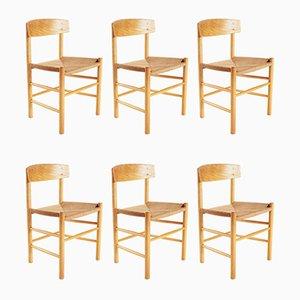 Dänische Mid-Century Modell J39 Esszimmerstühle von Børge Mogensen für FDB, 6er Set