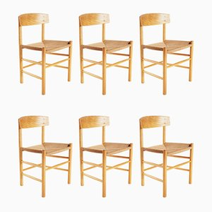 Mid-Century Danish Model J39 Dining Chairs by Børge Mogensen for FDB, Set of 6