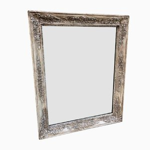 Antique Louis Philippe French Carved Silvered Carved Wood and Gesso Mirror