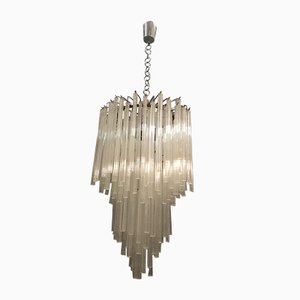 Lámpara de araña grande de cristal de Murano de Paolo Venini, años 60