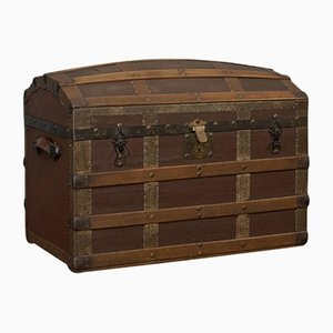 Antique Edwardian English Oak and Iron Trunk, 1910s