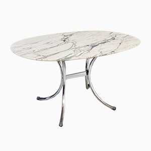Vintage Chrome-Plated Steel and Marble Dining Table