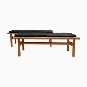 Mid-Century Swedish Pine and Leather Benches, Set of 2