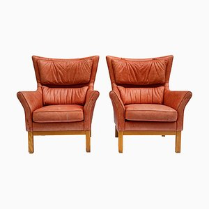 Mid-Century Leather Armchairs, Set of 2
