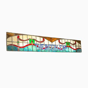 Insegna Art Déco vintage in vetro colorato, Regno Unito, anni '40
