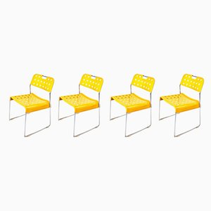 Yellow Omstak Chairs by Rodney Kinsman for Bieffeplast, 1972, Set of 4