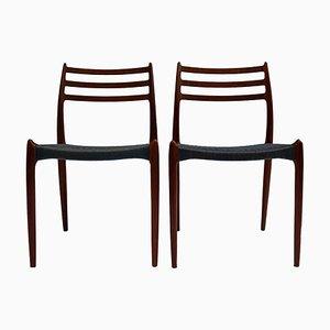 Mid-Century Esszimmerstühle aus Teak mit gewebten Sitzen aus Seide von Niels Otto Møller, 2er Set