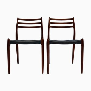 Mid-Century Teak and Silk Rope Dining Chairs by Niels Otto Møller, Set of 2